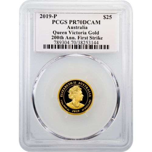 $25 2019 .999 Gold 1/4oz Australia Queen Victoria 200th Anniversary PR70 DCAM
