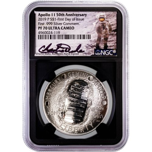 2019-P Apollo 11 1oz Silver Commemorative Dollar Charlie Duke Signature PF70 Ultra Cameo