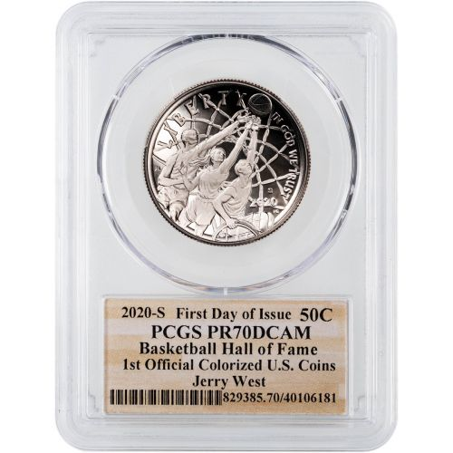 2020-S Jerry West Colorized Silver Basketball Commemorative Half Dollar FDI PCGS PF70DCAM