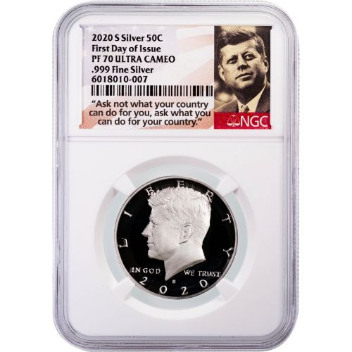 2020-S .999 oz Silver Kennedy Half Dollar First Day of Issue PF70 Ultra Cameo
