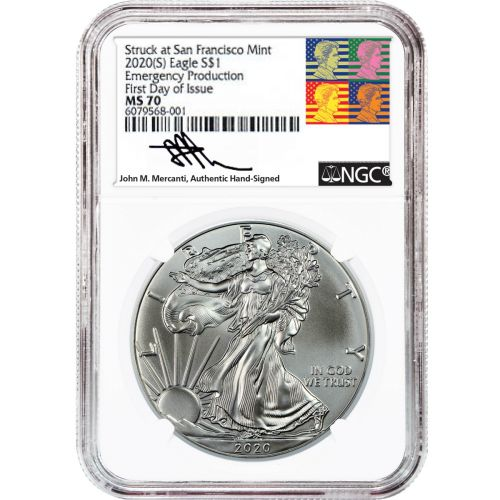 "2020(S) American Silver Eagle NGC MS70 FDI Reagan Mercanti Label ""Emergency Production"""
