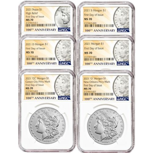 Set of 10: 100th Anniversary Ultimate Morgan And Peace Dollar Set 1921 P, D, S MS63, 2021 P, D, S, CC Privy, O, MS70 First Day of Issue