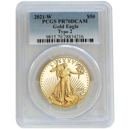 2021-W Type 2 1oz American $50 Gold Eagle PCGS PR70DCAM