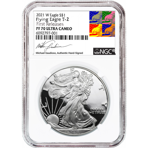 2021-W Type 2 American Silver Eagle NGC PF70UCAM First Releases Gaudioso Label (Presale)
