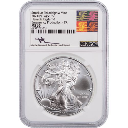 2021(P) American Silver Eagle Emergency Production First Releases MS69 Reagan Mercanti Label