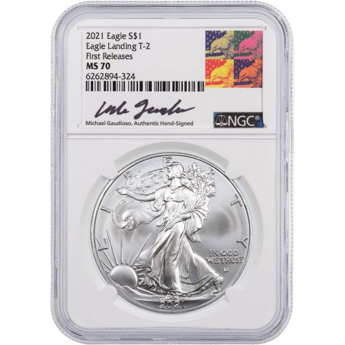 2021 Type 2 American Silver Eagle NGC MS70 First Releases Gaudioso Label