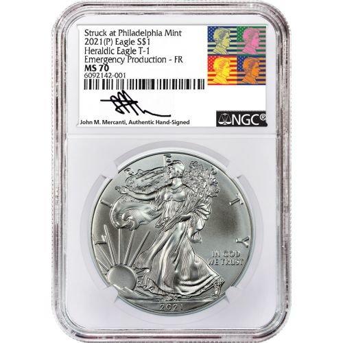 """2021 (P) Type 1 American Silver Eagle NGC MS70 """"Emergency Production"""" FR Reagan Mercanti Label"""