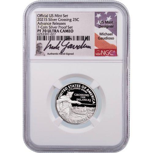 2021-S Silver Washington Quarter NGC PF70UCAM Advanced Releases Gaudioso Label Crossing the Delaware