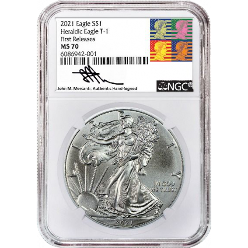 2021 Type 1 American Silver Eagle NGC MS70 First Release Reagan Mercanti Label