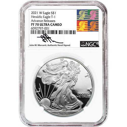 2021-W Type 1 American Silver Eagle NGC PF70UCAM Advance Releases Reagan Mercanti Label
