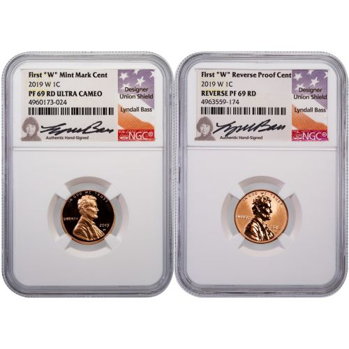 Set of 2: 2019-W Lincoln Cents NGC PF69RD UCAM & Rev PF69RD Lyndall Bass Signed Label
