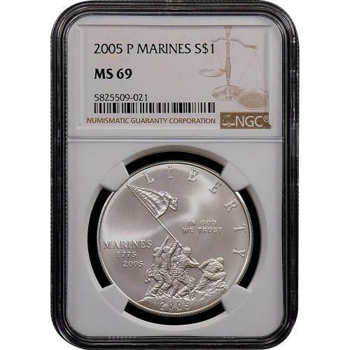 2005-P Marine Corps Commemorative Silver Dollar MS69