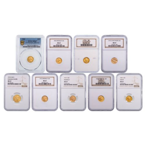 Set of 9: Classic Gold Commemorative Coins MS67