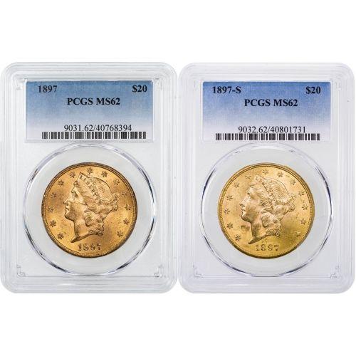 Set of 2: 1897-P & 1897-S Liberty Head Gold Double Eagle NGC/PCGS MS62