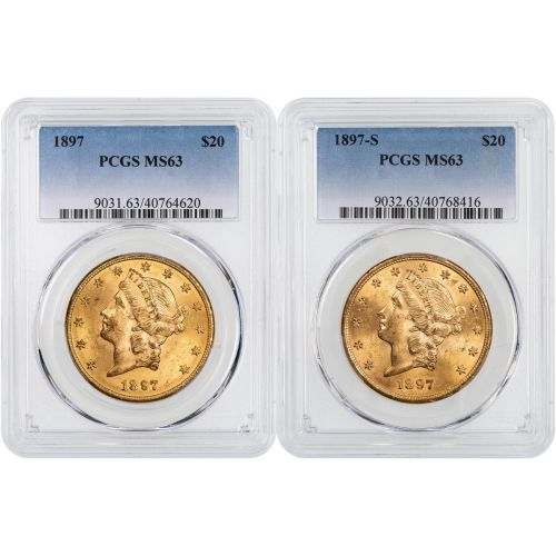 Set of 2: 1897-P & 1897-S Liberty Head Gold Double Eagle NGC/PCGS MS63