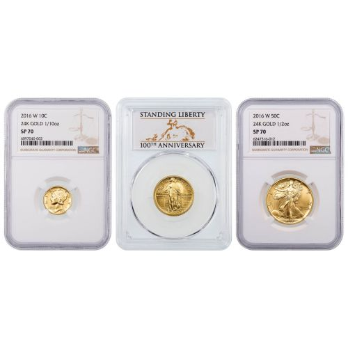 Set of 3: 2016-W 100th Anniversary 24k Gold Centennial Collection NGC/PCGS SP70