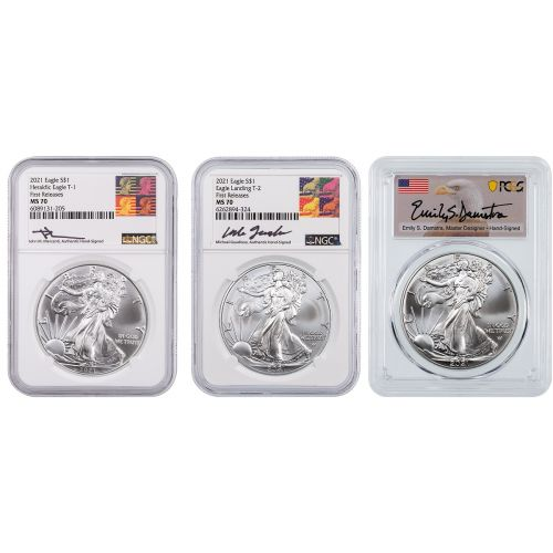 2021 Set of 3: Type 1 NGC Reagan Label, Type 2 NGC Gaudioso Label, & Type 2 PCGS Emily Damstra Label  American Silver Eagles MS70