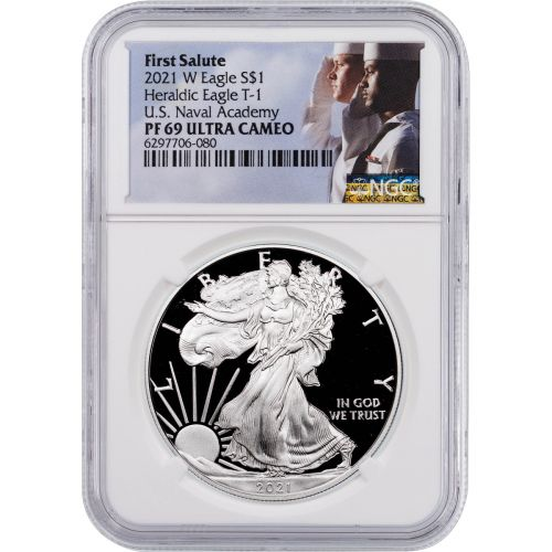 2021-W Type 1 American Silver Eagle NGC PF69 UCAM First Salute U.S. Navy