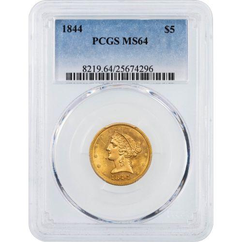 1844-P Liberty Head Gold Half Eagle PCGS MS64