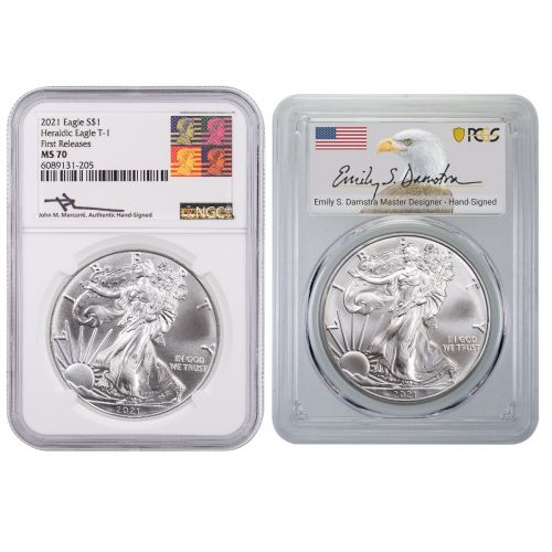 Set of 2: 2021 ASE Mercanti Label NGC MS70 First Release & 2021 ASE Damstra Label PCGS MS70 First Strike