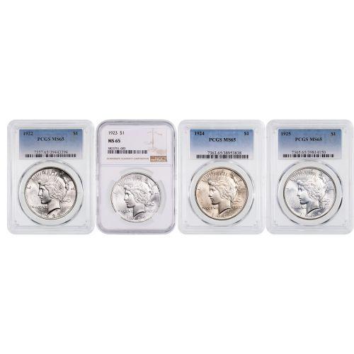 Set of 4: 1922-P-1925-P Peace Dollars NGC/PCGS MS65
