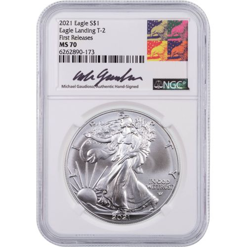 2021-W Type 2 Burnished American Silver Eagle NGC MS70 Gaudioso Label