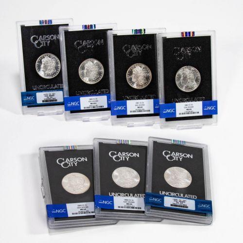Set of 7: 1878-CC - 1885-CC GSA Morgan Dollars Brilliant Uncirculated