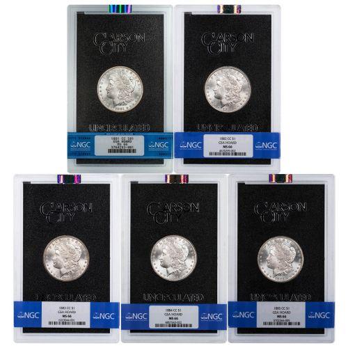 Set of 5: 1881-CC - 1885-CC GSA Morgan Dollars NGC MS66