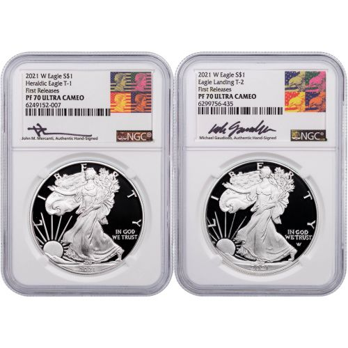Set of 2: 2021-W Type 1 & 2021-S Type 2 Rev PF American Silver Eagles NGC PF70 First Release Mercanti/Gaudioso Label