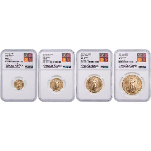 Set of 4: 2021 Type 2 American $5, $10, $25, $50 Gold Eagles NGC MS70 First Release Signed Jennie Norris