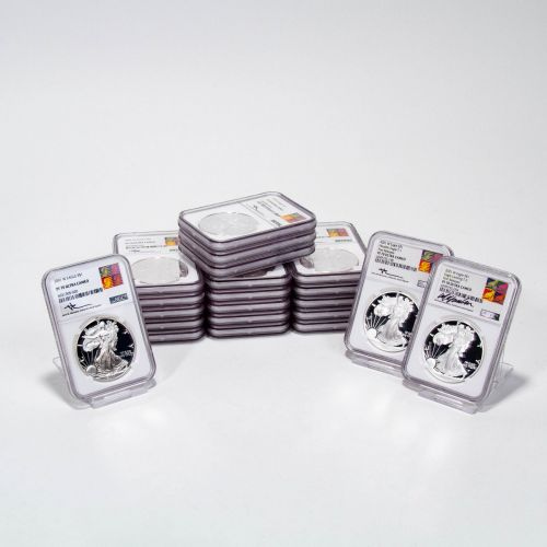 Set of 21: 2001-W - 2021-W Type 1 and Type 2 American Silver Eagles NGC PF70UCAM Reagan Mercanti and Gaudioso Labels