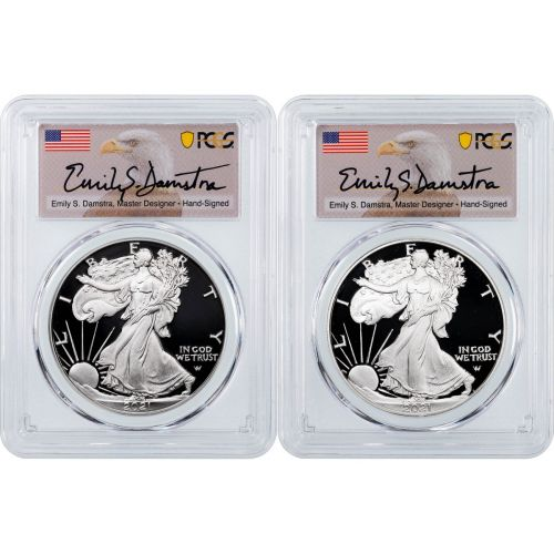 Set of 2: 2021-W & 2021-S Type 2 American Silver Eagles PCGS PR70 DCAM First Strike Damstra Label