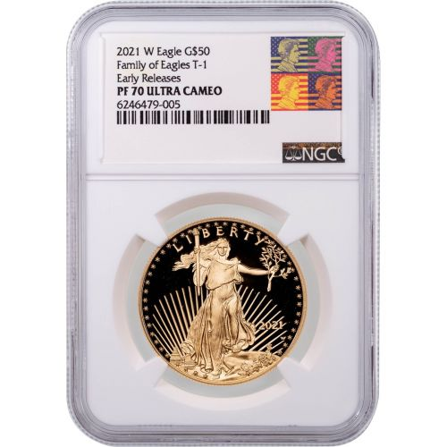Set of 2: $50 2021 American Gold Eagle Type 1 and Type 2 NGC PF70/UCAM with bonus Type 1 and Type 2 American Silver Eagle PF70