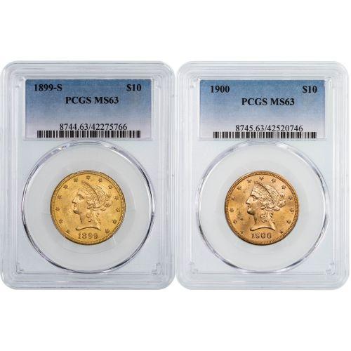 Set of 2: 1899-S - 1900-P Liberty Head $10 Gold Eagle NGC/PCGS MS63