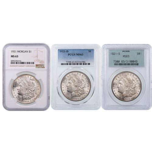 Set of 3: 1921 P, D, S Morgan Dollar NGC/PCGS MS63