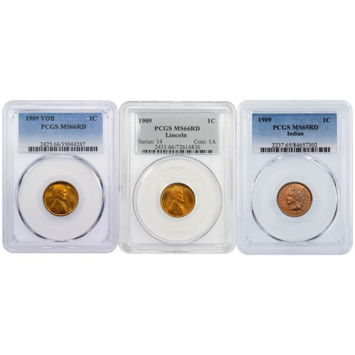 Set of 3: 1909 Indian Cent MS65RD, 1909 VDB & 1909-P Lincoln Cent MS66RD