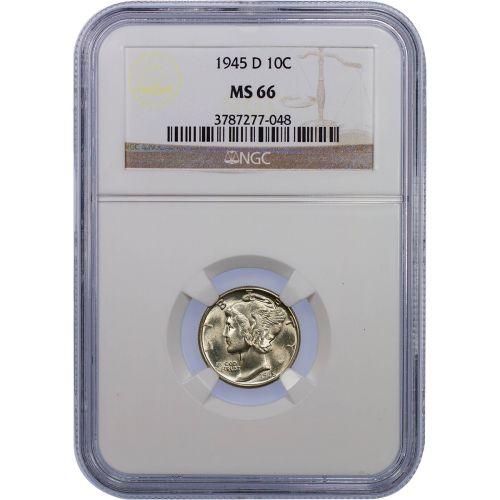 1945-D Mercury Dime MS66