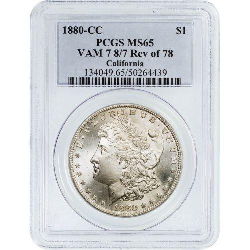 1880-CC Reverse of 1878 Morgan Dollar MS65