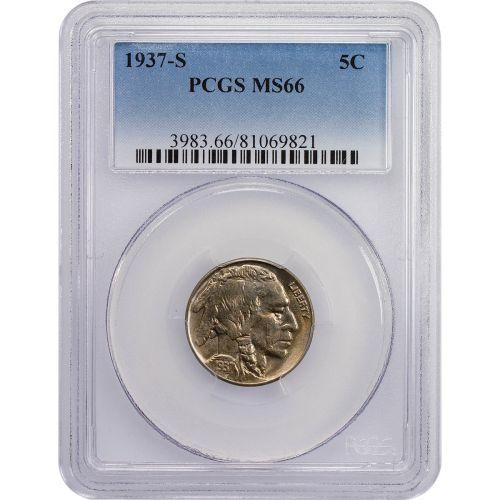 1937-S Buffalo Nickel NGC MS66