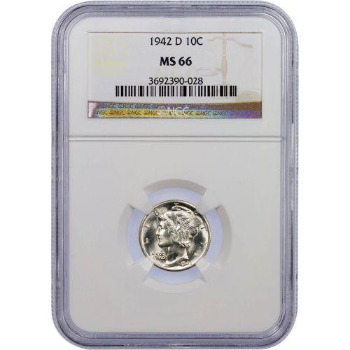 1942-D Mercury Dime MS66