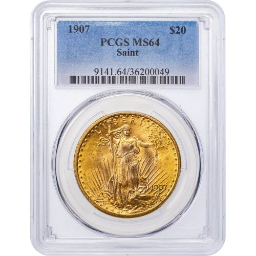 1907-P Saint-Gaudens Gold Double Eagle MS64