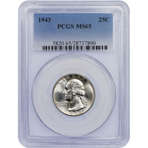 1943 Washington Quarter PCGS MS65