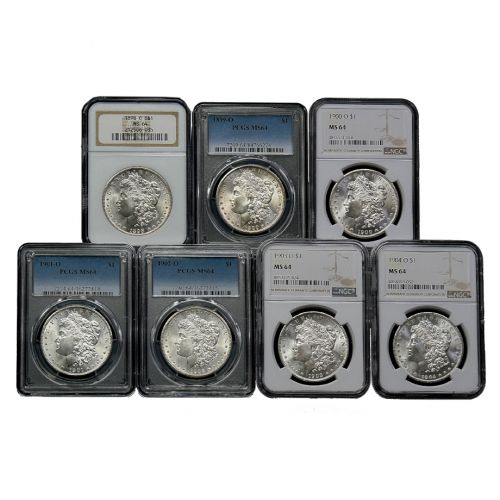Set of 7: 1898-O - 1904-O Morgan Dollars NGC/PCGS MS64