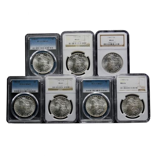 Set of 7: 1898-O - 1904-O Morgan Dollars NGC/PCGS MS65