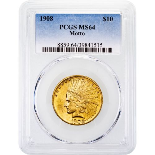 1908-P With Motto Indian Head Gold Eagle MS64
