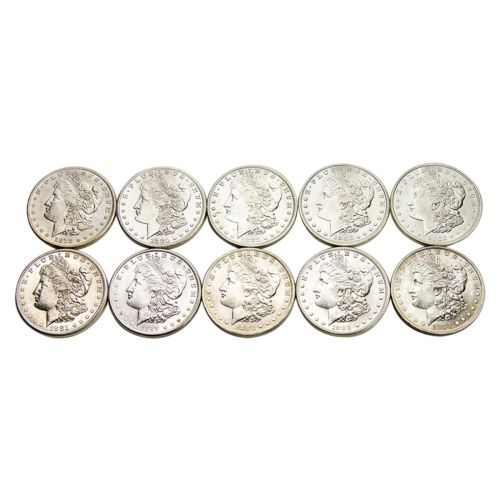 Ten Different Dates/Mintmarks Morgan Dollars BU