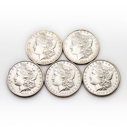Five Different Dates/Mintmarks Morgan Dollar BU
