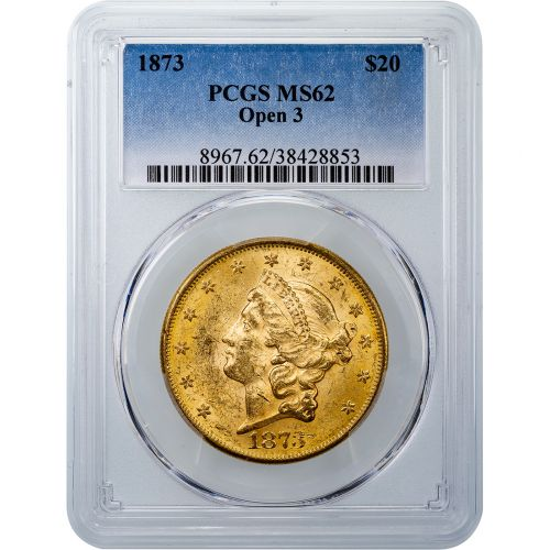 1873-P Type 2 Open 3 Liberty Head Gold Double Eagle MS62