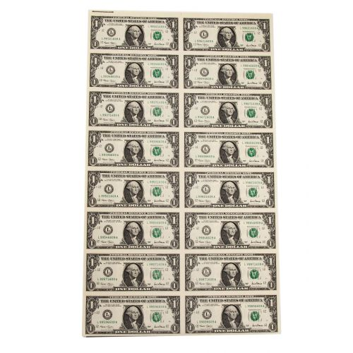 Sheet of 16: $1 2001 Federal Reserve Notes