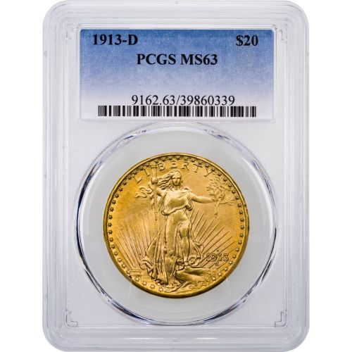 1913-D Saint Gaudens $20 Gold Double Eagle NGC/PCGS MS63